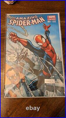 AMAZING SPIDER-MAN # 1 NM (2014 MARVEL NOW!) STAN LEE SIGNED withCOA COLOR VARIANT