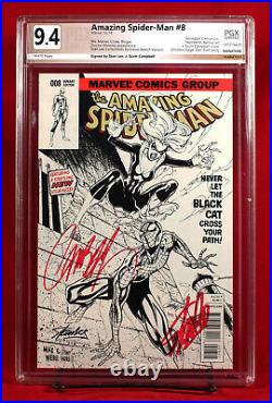 AMAZING SPIDER-MAN #8 PGX 9.4 sketch variant SIGNED STAN LEE & CAMPBELL +CGC