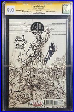 Age Of Ultron #1 Midtown Sketch Variant CGC SS 9.0 Signed by Stan Lee & Bendis