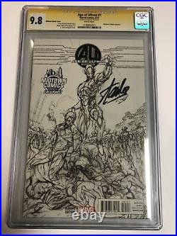 Age Of Ultron (2013) # 1 (CGC SS 9.8 WP) Signed Stan Lee Midtown Variant