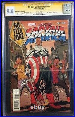 All New Captain America #1 Sremmurd Interscope Variant Signed Stan Lee CGCSS 9.6