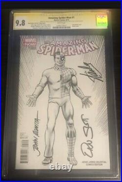 Amazing Spider-Man #1 CGC 3X STAN LEE SS Signed Romita Scott Jesse James Variant