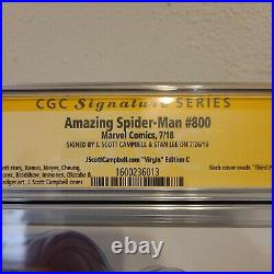 Amazing Spider-Man #800 J Scott Campbell Variant C CGC SS 9.2 Signed by Stan Lee