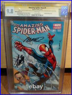 Amazing Spider-man #1 Variant Cgc 9.8 Ss Signed Stan Lee Ramos Delago Olazaba
