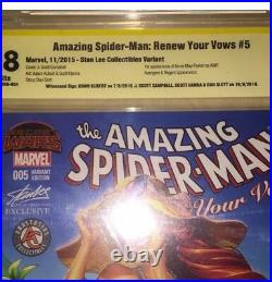 Amazing SpiderMan Renew Your Vows #5 Stan Lee Variant 9.8 SS CBCS 4 TIMES SIGNED