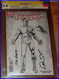 Amazing Spiderman 1 Cobra Sketch Variant Signed 3x Cgc 9.8 Stan Lee Romita Slott