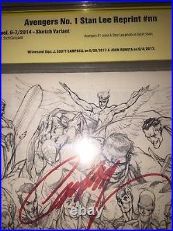 Avengers #1 9.8 CBCS SS Signed John Romita Sr Stan Lee J. Scott Campbel Variant