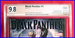 BLACK PANTHER #1 PGX 9.8 NM/MT Near Mint Horn Variant signed STAN LEE +CGC