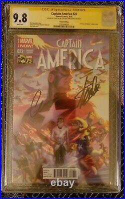 CAPTAIN AMERICA #22 CGC SS 9.8 Ross Variant Signed Stan Lee & Chris Evans Marvel