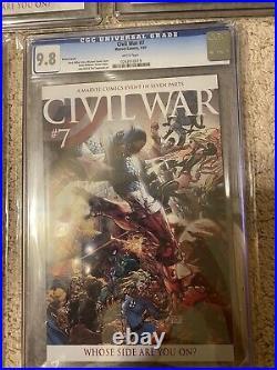 CGC 9.8 Marvel Civil War #1-7 +Aspen Variant Signed Stan Lee & Michael Turner SS