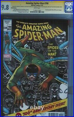 Cgc Ss 9.8 Amazing Spider-man #700 Signed By Stan Lee & 5 More 3rd Print Variant