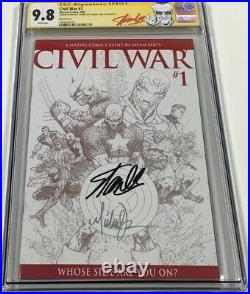 Civil War #1 B&W Sketch Variant Signed by Stan Lee & Turner CGC 9.8 SS Red Label