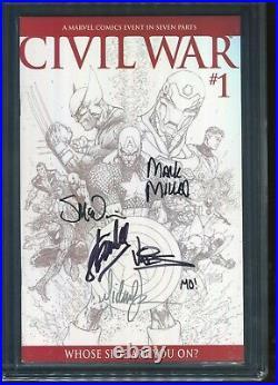 Civil War #1 CGC 9.8 Signed Stan Lee +5 TURNER 175 SKETCH VARIANT