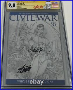 Civil War #6 B&W Sketch Variant Signed by Stan Lee & Turner CGC 9.8 SS Red Label