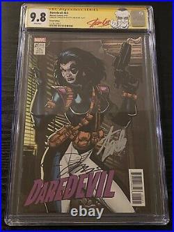 Daredevil #23 CGC 9.8 SS 2X Stan Lee (LABEL) Jim Lee Signed Domino Card Variant