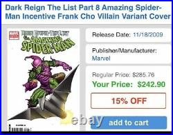 Dark Reign The List Amazing Spider-man 1 Frank Cho 1200 Variant Signed Stan Lee