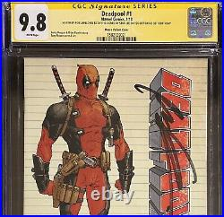 Deadpool 1 Moore Variant 125 SS CGC 9.8 2X Signed Stan Lee On 95th Bday Liefeld