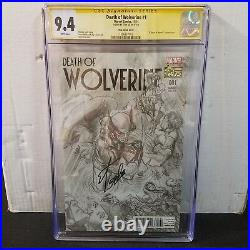 Death Of Wolverine #1 Ross Sketch Variant Cgc 9.4 Ss Signed Stan Lee