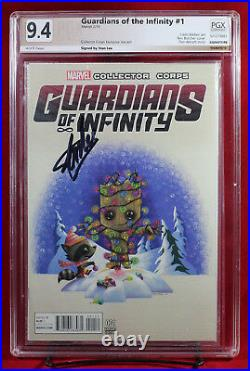 GUARDIANS OF INFINITY #1 PGX 9.4 NM Groot Variant signed STAN LEE! +CGC