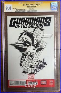 Guardians of The Galaxy #2 Quesada Sketch Variant CGC SS 9.4 Signed Stan Lee