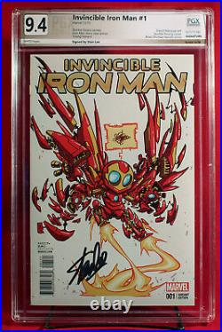 INVINCIBLE IRON MAN #1 PGX 9.4 NM, Near Mint Young Variant signed STAN LEE +CGC