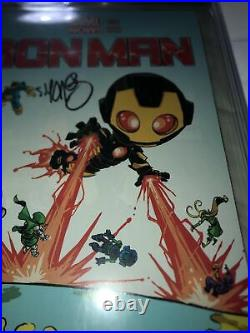 IRON MAN #1 CGC 9.6 SS Signed By Skottie Young Variant Sig Series STAN LEE