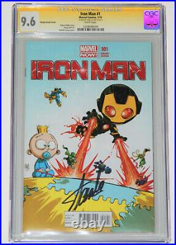 IRON MAN #1 CGC 9.6 SS Signed by STAN LEE, Skottie Young Variant Cover White Pgs