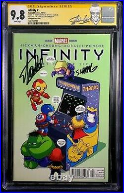Infinity 1 9.8 Cgc Ss Skottie Young Variant Signed On Stan Lee 95th Birthday