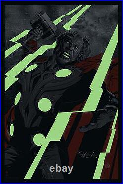 Martin Ansin THOR VARIANT Glow POSTER SIGNED BY STAN LEE Mondo Avengers Marvel