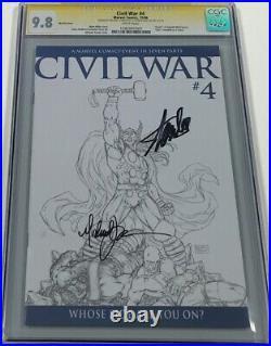 Marvel Civil War #4 B&W Sketch Variant Signed Stan Lee & Turner CGC 9.8 SS