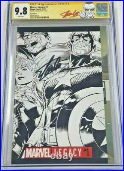 Marvel Legacy #1 Quesada 1500 B&W Sketch Variant Signed by Stan Lee CGC 9.8 SS