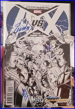 Marvel Stan Lee Signed A Vs X # 1 Diamond Select Toys Variant Tripple Signed