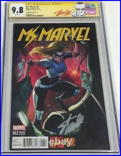 Ms. Marvel #2 J. Scott Campbell Variant Signed by Stan Lee CGC 9.8 SS Red Label
