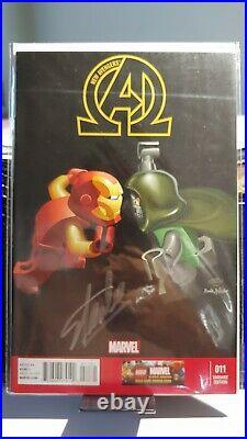 New Avengers Iron man Dott. Doom #11 Lego variant signed Stan silver Lee withcoa
