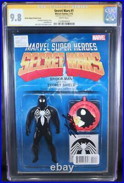 Secret Wars 1 CGC SS 9.8 Signed Stan Lee Spider-Man Venom Movie Figure Variant