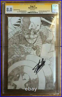 Siege #1 1300 Joe Quesada Pencil Sketch Variant CGC SS 8.0 Signed Stan Lee