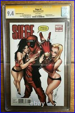 Siege #3 Deadpool J Scott Campbell Variant Signed Stan Lee CGC SS 9.4 1317199004