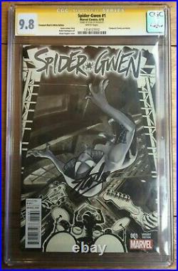 Spider-Gwen #1 Conquest Comics B&W Sketch Variant Signed by Stan Lee CGC SS 9.8