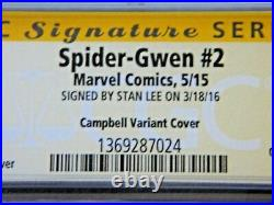 Spider Gwen #2 Campbell Variant Cover Signed Stan Lee CGC 9.8 Emerald City Exclu
