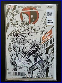 Spider-Man Deadpool #1 2016 Liefeld Variant Signed by Stan Lee & Rob Liefeld NM