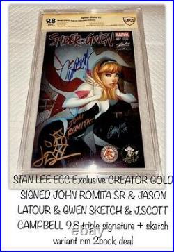 Spider-gwen #2 V1 J Scott Campbell Stan Lee Eccc +9.8 Ss Signed John Romita Sr +
