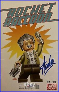 Stan Lee Signed Rocket Raccoon #1 Leonel Castellani Lego Variant PSA W68508