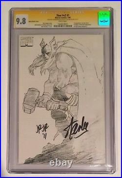 Stan Lee Signed Thor #1 Cgc Ss 9.8 Sketch Variant Lee & Romita Jr Signed
