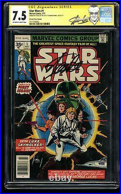 Star Wars #1 CGC VF- 7.5 35 Cent Variant SS Signed by Stan Lee and Mark Hamill