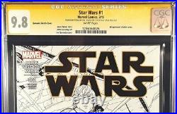 Star Wars #1 Cgc Ss 9.8 1500 Quesada Sketch Variant Signed Stan Lee Luke Vader
