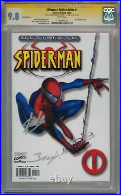 ULTIMATE SPIDER-MAN #1 WHITE VARIANT CGC 9.8 SIGNATURE SERIES SIGNED x2 STAN LEE