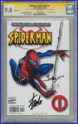 ULTIMATE SPIDER-MAN #1 WHITE VARIANT CGC 9.8 SIGNATURE SERIES SIGNED x3 STAN LEE