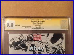 Uncanny X Men 1 CGC 9.8 SS Joe Quesada B&W Sketch Variant Signed By Stan Lee