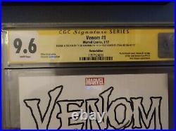 Venom 1 cgc ss 9.6 blank variant, Signed Stan Lee, Sketched Signed Tyler kirkman